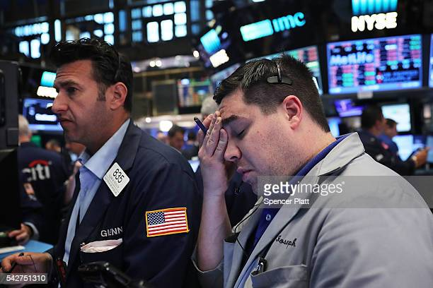 Traders work on the floor of the New York Stock Exchange following news that the United Kingdom has voted to leave the European Union on June 24 2016...