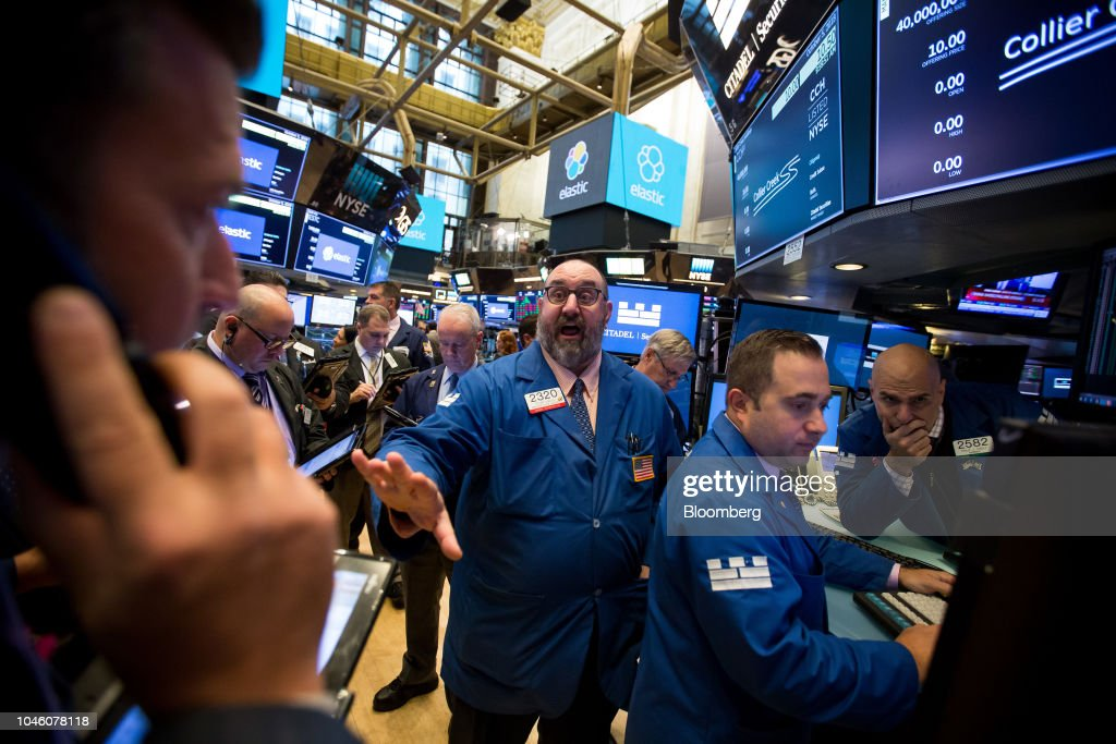 Trading On The Floor Of The NYSE As Echoes of February Collapse Reappear : News Photo