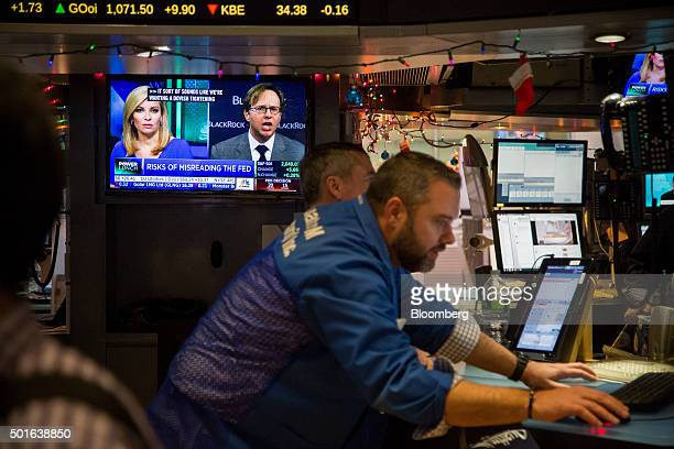 Traders work on the floor of the New York Stock Exchange in New York US on Wednesday Dec 16 2015 The Federal Reserve raised interest rates for the...