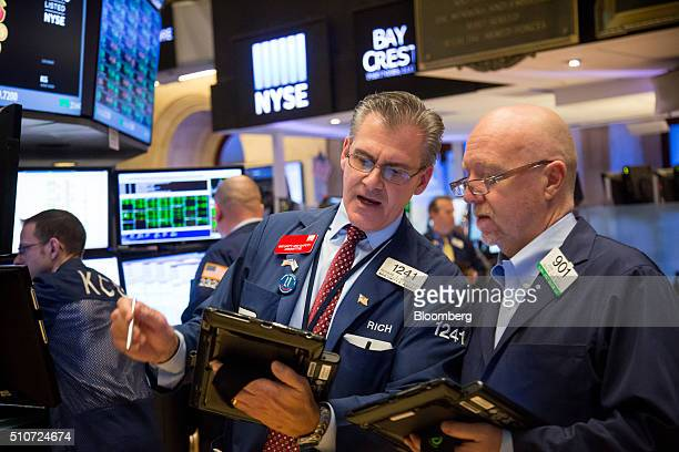 Traders work on the floor of the New York Stock Exchange in New York, U.S., on Tuesday, Feb. 16, 2016. U.S. Stocks capped their steepest two-day gain...
