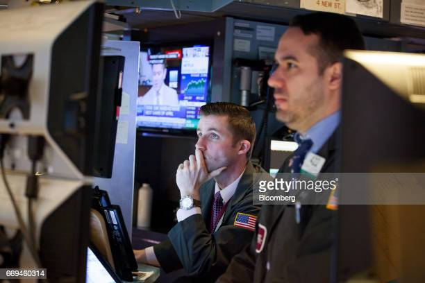 Traders work on the floor of the New York Stock Exchange in New York US on Monday April 17 2017 US stocks rebounded from a weekly slide while the...