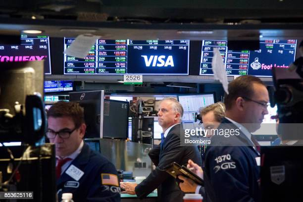 Traders work on the floor of the New York Stock Exchange in New York US on Monday Sept 25 2017 US stocks tanked and bonds gained as North Korean...
