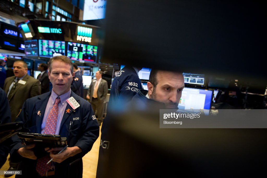 Trading On The Floor Of The NYSE As Dow Jones Hits 26,000 Milestone