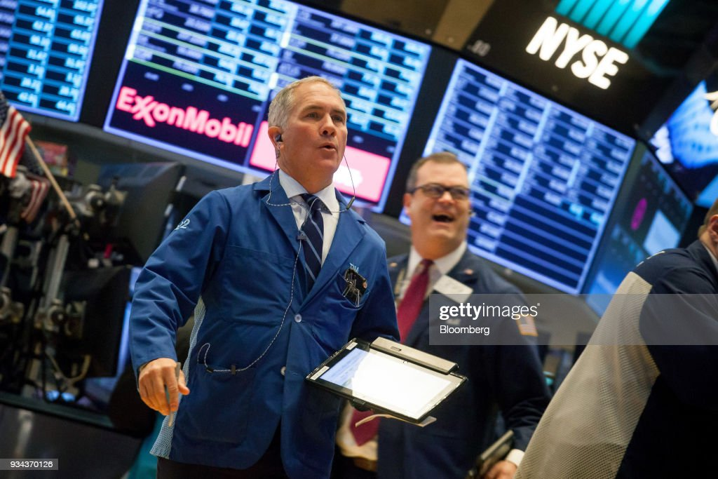 Trading On The Floor Of The NYSE As Stocks Slide In Broad Selloff