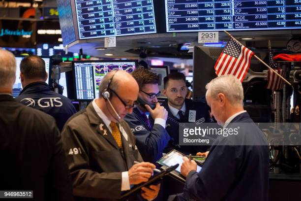 Traders work on the floor of the New York Stock Exchange in New York US on Monday April 16 2018 US stocks rallied and Treasuries slid as geopolitical...