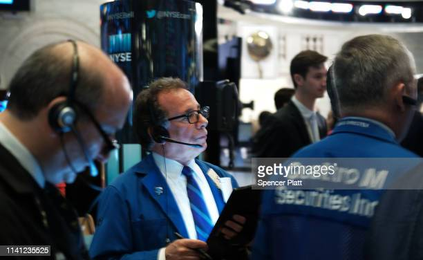 Traders work on the floor of the New York Stock Exchange on April 08 2019 in New York City Markets are reacting as President Trump considers placing...