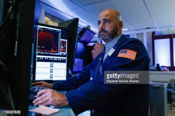 Traders work on the floor of the New York Stock Exchange on August 23, 2019 in New York City. The three major U.S. Stock indexes ended lower, being...