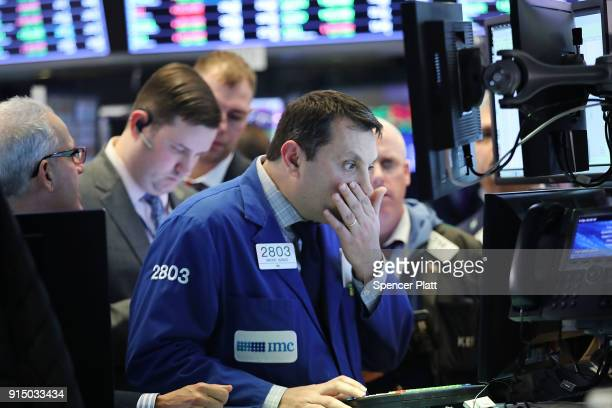 Traders work on the floor of the New York Stock Exchange on February 6 2018 in New York City Following Monday's over 1000 point drop the Dow Jones...