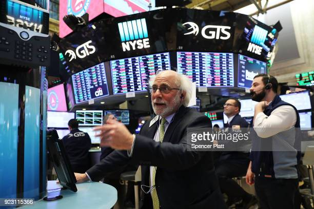 Traders work on the floor of the New York Stock Exchange on February 22 2018 in New York City Following a twoday losing streak the Dow Jones...