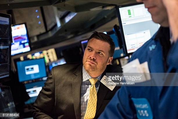 Traders work on the floor of the New York Stock Exchange on March 1 2016 in New York City The US market opened as the global market posted gains