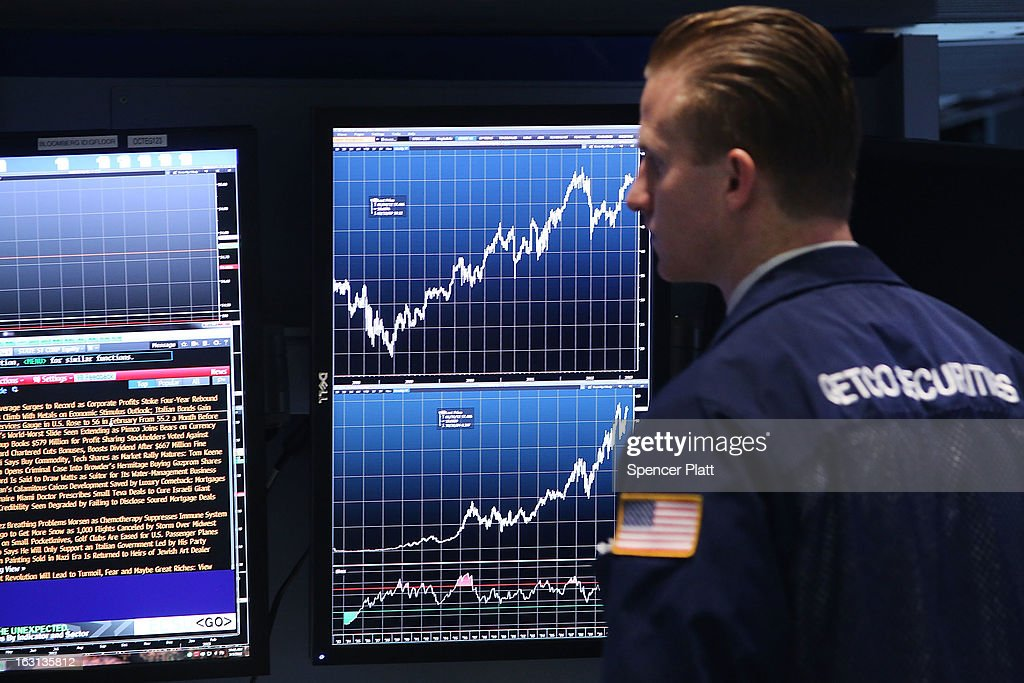 Dow Jones Average Passes Its All Time High : News Photo
