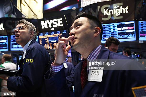Traders work on the floor of the New York Stock Exchange on May 23 2013 in New York City As markets fell from Tokyo to London due to...