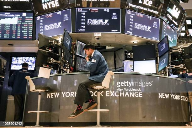 Traders work on the floor of the New York Stock Exchange on November 7 2018 in New York City Stocks rose over 500 points the day after the midterm...