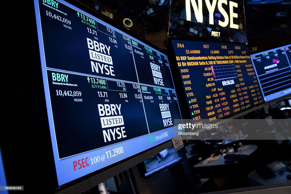 Trading activity for BlackBerry is displayed on an electronic board at the New York Stock Exchange (NYSE) in New York, U.S., on Monday, Feb. 4, 2013. U.S. stocks fell, after the Standard & Poor's 500 Index jumped to a five-year high, on concern over increasing political tension in Europe as investors awaited data on factory orders. Photographer: Jin Lee/Bloomberg via Getty Images