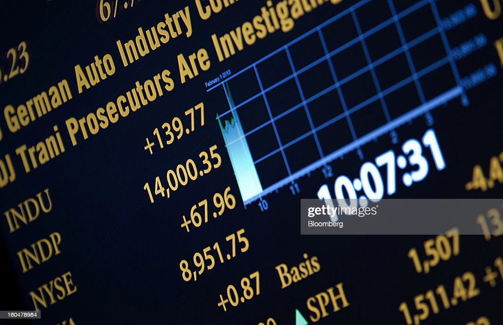 Trading activity is displayed on an electronic board on the floor of the New York Stock Exchange (NYSE) in New York, U.S., on Friday, Feb. 1, 2013. U.S. stocks rallied, briefly sending the Dow Jones Industrial Average above 14,000, as data showed hiring increased in January after accelerating more than previously estimated at the end of 2012 and manufacturing grew. Photographer: Jin Lee/Bloomberg via Getty Images