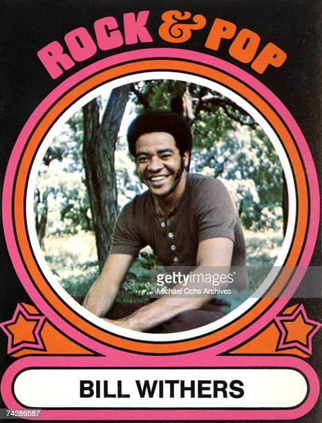 "Trading card of singer/songwriter Bill Withers features a portrait surrounded by a 1970's style design that reads, ""Rock & Pop - Bill Withers"" in..."