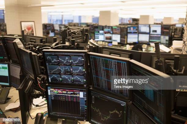Trading floor with working computers