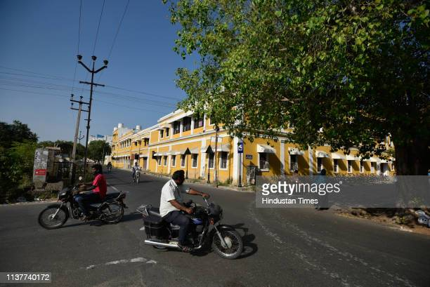 Tradition Yellow Architecture building at Rue Surcouf street on March 15 2019 in Puducherry India Though many European traders including the...