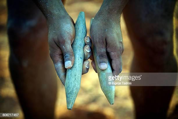 Traditional Aboriginal clapping sticks