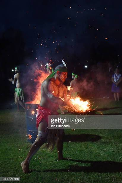 Traditional Aboriginal dancer is seen performing a 'Welcome to Country' ceremony with athletes at Jezzine Barracks during an official welcome...