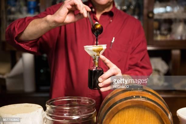 Traditional acetaia where it is aged balsamic vinegar of Modena. IGP. ABM. Magreta. Emilia Romagna. Italy. Europe.