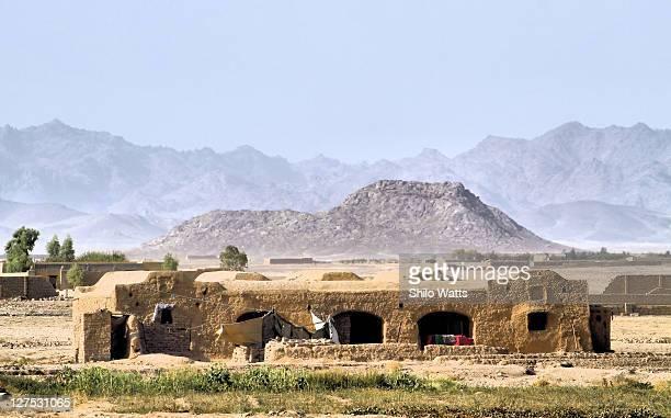 traditional afghan house - afghanistan war stock-fotos und bilder