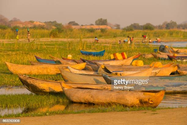Traditional African Boats on Shore in Morning on Lake Malawi near Salima Malawi