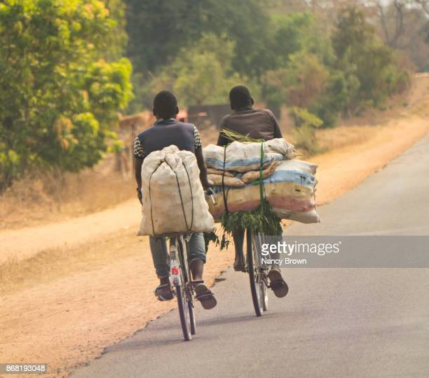 Traditional African Men on Traditinal Transportation near Lilongwe in Malawi.
