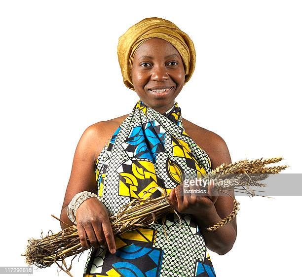 Traditional African Woman Holding her Wheat