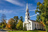 Traditional American White Church and Blue Sky