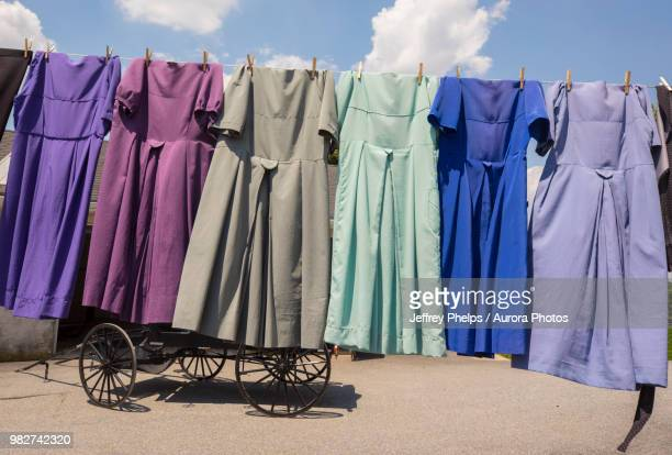 Traditional Amish dresses hanging on clothesline, Intercourse, Pennsylvania, USA