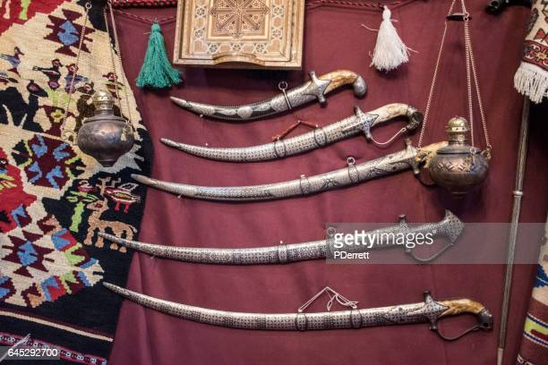 traditional arabic swords - sword stock pictures, royalty-free photos & images