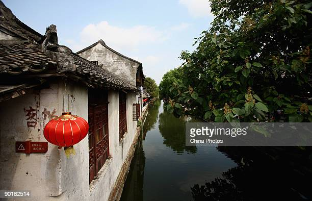Traditional architectures along a canal are seen on August 29 2009 in Zhouzhuang Town of Kunshan City Jiangsu Province China Zhouzhuang first built...