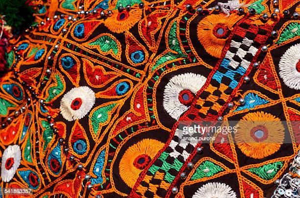 traditional artistic navratri dressing, gujarat - embroidery stock pictures, royalty-free photos & images