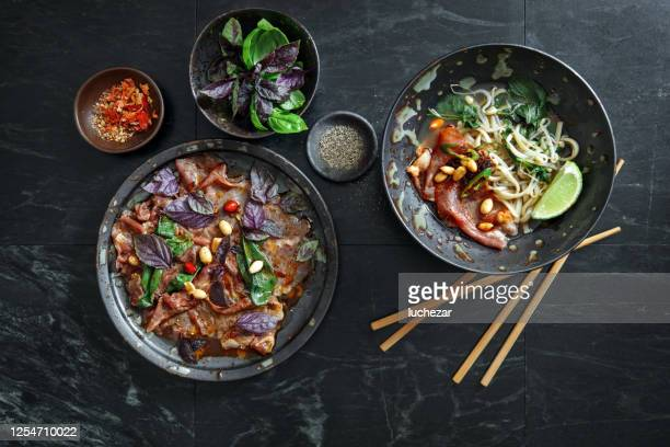 traditional asian dishes for family dinner - mint plant family stock pictures, royalty-free photos & images