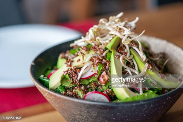 traditional avocado salad with quinoa - tabbouleh stock pictures, royalty-free photos & images