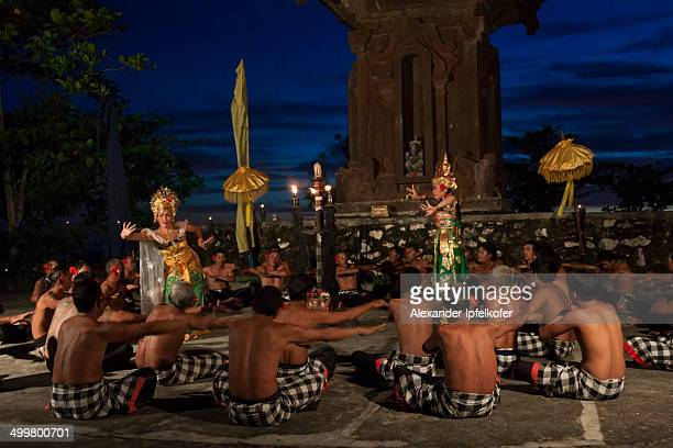 Traditional Balinese Kecak Dance performance with Ramayana characters after sunset at Tanah Lot, Bali, Indonesia, 2009.