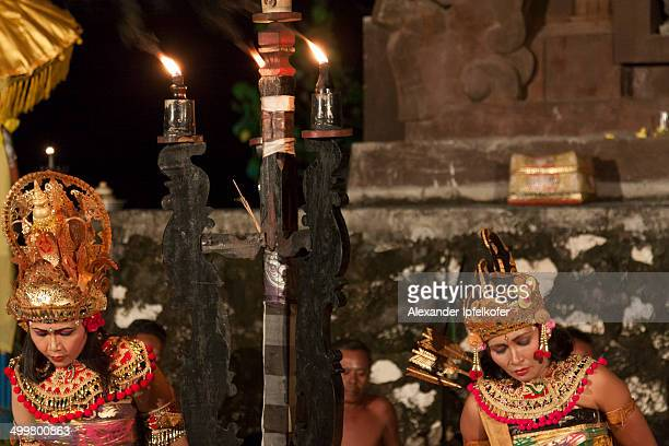 CONTENT] Traditional Balinese Kecak Dance performance with Ramayana characters after sunset at Tanah Lot Bali Indonesia 2009