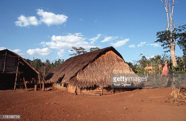 BOUSRA MONDOLKIRI CAMBODIA A traditional bamboo and thatch hut in the style preferred by the ethnic Phnong montagnards of northeastern Cambodia