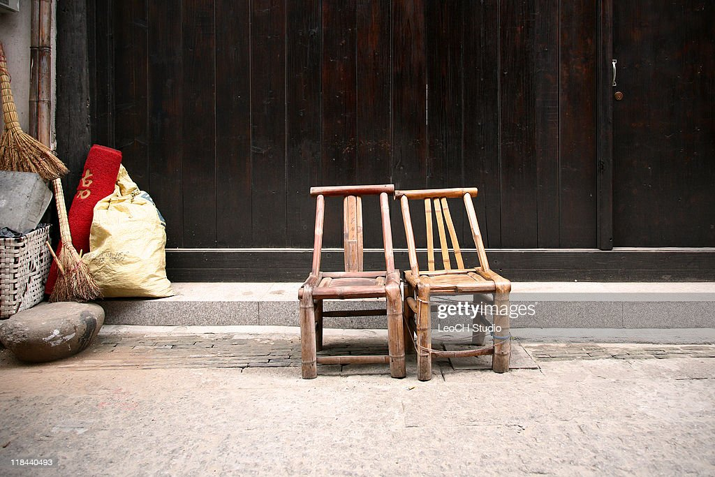 Traditional bamboo chairs : Stock Photo