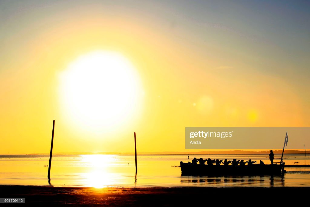 Traditional barges and people rowing at sunset in Andernos-les-Bains, Arcachon Bay.
