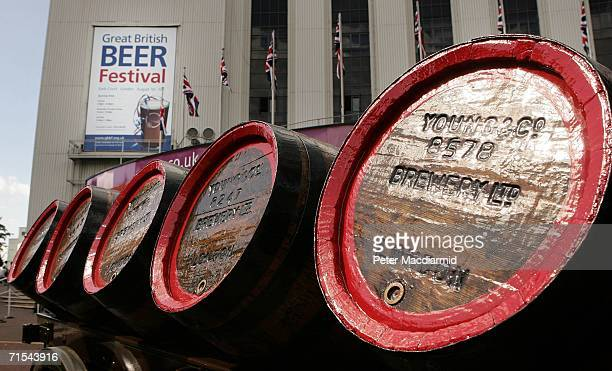 Traditional barrels of beers are displayed outside the Great British Beer Festival on July 31, 2006 in London. The Great British Beer Festival will...