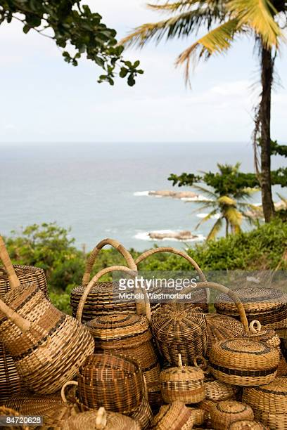 traditional baskets, dominica, caribbean - dominica stock pictures, royalty-free photos & images