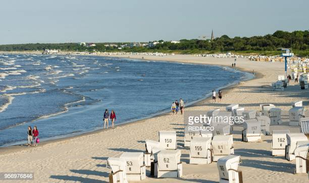 Traditional beach chairs on the beach near Heringsdorf on the coast of the Baltic Sea EuropeGermany MecklenburgWestern Pomerania Usedom June