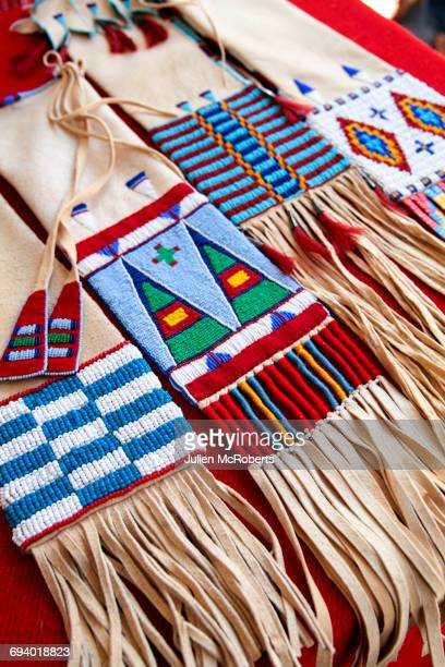 Traditional beaded purses on table
