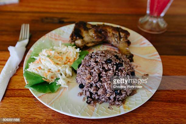Traditional Belizean meal - chicken with rice & beans.