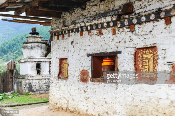 traditional bhutanese temple architecture, bhutan - ipek morel stock pictures, royalty-free photos & images