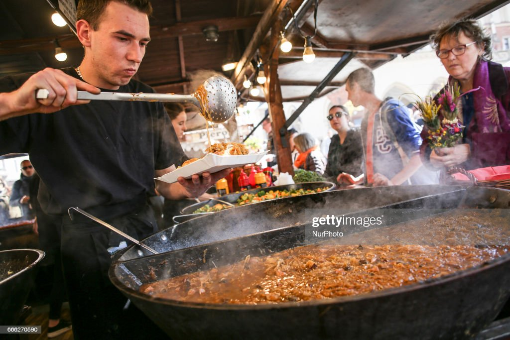 Traditional 'bigos' (cabbage stew) at Easter Market in Krakow, Poland on 8 April, 2017.