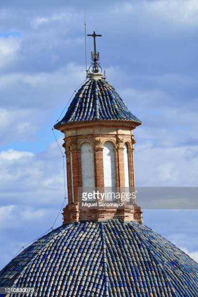 traditional blue dome - valencia stock pictures, royalty-free photos & images