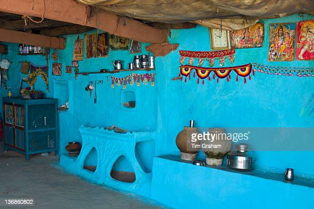 Traditional blue painted home in Hindu Brahman high caste village of Dhudaly in Rajasthan Northern India
